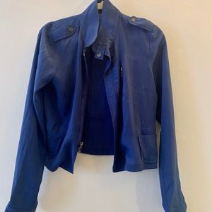 Blue silk top with zipper